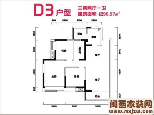武汉装修家庭装修新世界常青花园雁溪山96平户型图